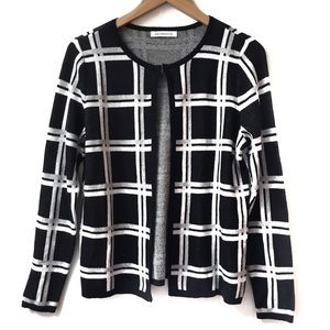 Liz Claiborne black and white windowpane cardigan